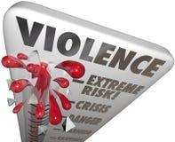 Precaución amonestadora del peligro extremo del nivel de la medida del riesgo de la violencia Foto de archivo libre de regalías