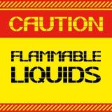 Precaución Líquidos inflamables Foto de archivo