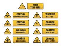 Precaución, peligro, señales de peligro Foto de archivo libre de regalías