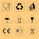 Set cardboard box symbols. Vector. stock illustration