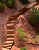 Precedente cava ocracea nel Roussillon, Francia Fotografia Stock
