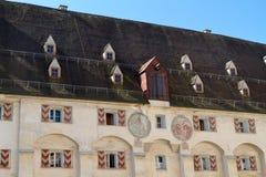Precedente elevatore di granulo in Wasserburg, Germania Fotografia Stock