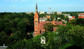 Precedente st Adalbertskirche della chiesa luterana nella città di Zelenogradsk, Russia Immagini Stock