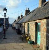 Precedenti cottage del pescatore a Footdee, Aberdeen, Scozia Fotografie Stock Libere da Diritti