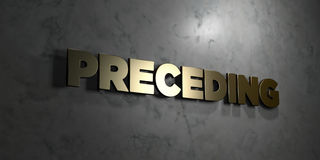 Preceding - Gold text on black background - 3D rendered royalty free stock picture Stock Photo