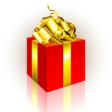 Precent box. Red present box with gold bow, this illustration may be usefull as designer work Stock Image