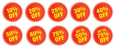 Precent Off Discount Bursts. Discount bursts for ads, flyers and sales Royalty Free Stock Image