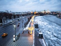 Prechistenskaya Embankment in Moscow in evening stock photography