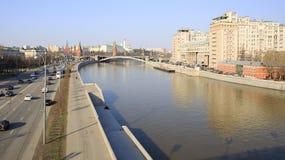 Prechistenskaya Quay, Great Stone Bridge, Moscow Kremlin Stock Photography