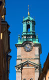The bell tower of the church of St Nicholas in the old town of Stockholm royalty free stock photo