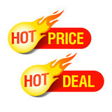 Precio caliente y etiquetas calientes del reparto Foto de archivo libre de regalías