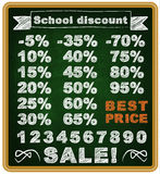 Precio con mejores ventas para los estudiantes en una tiza de la escuela Foto de archivo libre de regalías