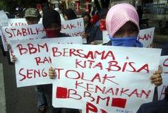 PRECIO DE COMBUSTIBLE DE INDONESIA OTRO AUMENTO Fotos de archivo libres de regalías