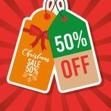 Precio de la etiqueta de la venta de la Navidad el 50 por ciento del márketing Fotografía de archivo