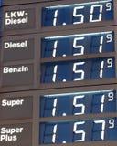 Precio de la gasolina alemana Fotos de archivo libres de regalías