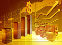 Precio de la gasolina cada vez mayor Foto de archivo libre de regalías