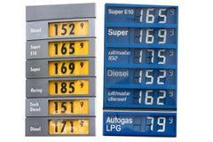 Precio de la gasolina en Europa occidental en mayo de 2012 Imagen de archivo libre de regalías