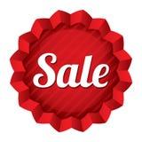 Precio de la venta. Etiqueta engomada redonda roja de la estrella. Foto de archivo