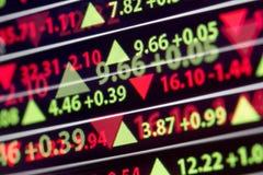 Precio de mercado de acción financiero Foto de archivo