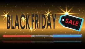 Precio de papel realista de la venta de Black Friday en fondo stock de ilustración
