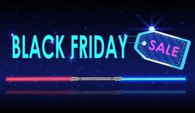 Precio de papel realista de la venta de Black Friday en fondo con la espada ligera stock de ilustración