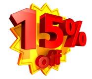 precio del 15 por ciento del descuento Fotografía de archivo