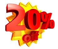 precio del 20 por ciento del descuento Fotografía de archivo libre de regalías