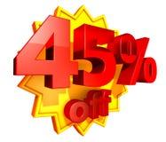 precio del 45 por ciento del descuento Fotografía de archivo libre de regalías