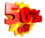 precio del 50 por ciento del descuento ilustración del vector