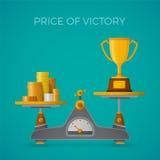 Precio del concepto del vector de la victoria en estilo plano con el cubilete ilustración del vector