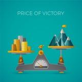 Precio del concepto del vector de la victoria en estilo plano con el pico de montaña stock de ilustración