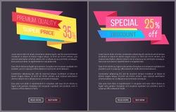 Precio estupendo 35 de la calidad superior de los carteles del web fijados Imagen de archivo libre de regalías