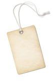 Precio o etiqueta del papel en blanco del vintage aislada encendido Foto de archivo