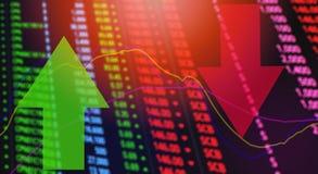 Precio rojo estudio de mercado de la bolsa de acción de las flechas/de la crisis rojos y verdes de la acción ilustración del vector