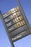 Precios de la gasolina Fotos de archivo libres de regalías
