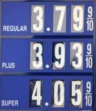 Precios de la gasolina foto de archivo libre de regalías