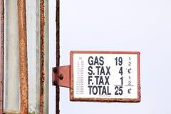 Precios de la gasolina retros Foto de archivo