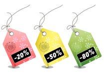 Precios de la venta al por menor para cada estación de las compras Imágenes de archivo libres de regalías