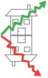 Precios de la vivienda que suben y vector descendente Fotografía de archivo