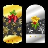 Precios del oro y de la plata de la Navidad Imagenes de archivo