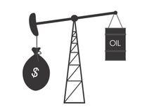 Precios del petróleo descendentes Imagen de archivo libre de regalías