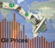 Precios del petróleo descendentes Fotos de archivo