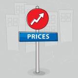 Precios en aumento Imagen de archivo libre de regalías