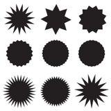 Precios negros determinados en el fondo blanco etiqueta engomada negra del starburst, etiquetas, y estilo plano del resplandor so ilustración del vector