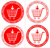 Precios rojos del vector, etiquetas engomadas, carretilla Foto de archivo libre de regalías