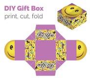 Precioso hágalo usted mismo caja de regalo sonriente de la expresión de DIY para los dulces Libre Illustration