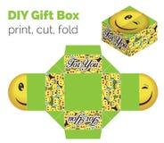 Precioso hágalo usted mismo caja de regalo sonriente de la expresión del guiño de DIY para los dulces, caramelos, pequeños presen Stock de ilustración
