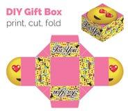 Precioso hágalo usted mismo DIY en la caja de regalo de la expresión del amor para los dulces Ilustración del Vector