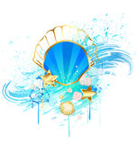 Precious blue seashell stock illustration