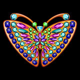 Precious brooch in the form of a butterfly with gems. Butterfly jewelry made of gold and precious stones Royalty Free Illustration